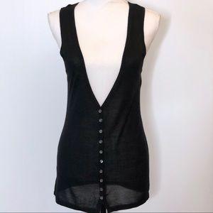 Theory Sleeveless Cardigan Sweater Button Up Black
